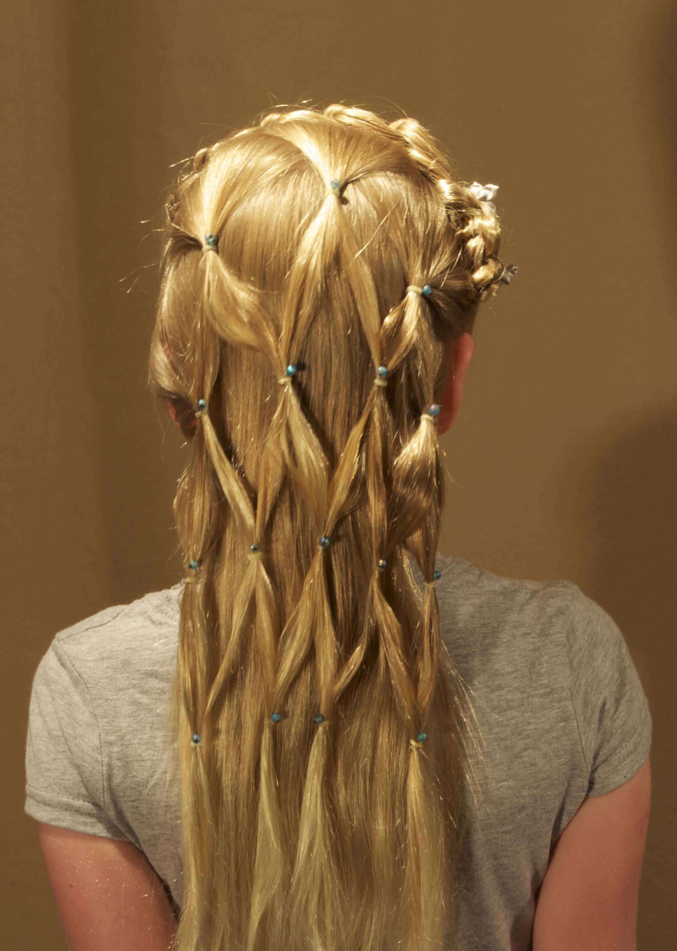 2-strand, knot, lace, headband, cascade, headdress