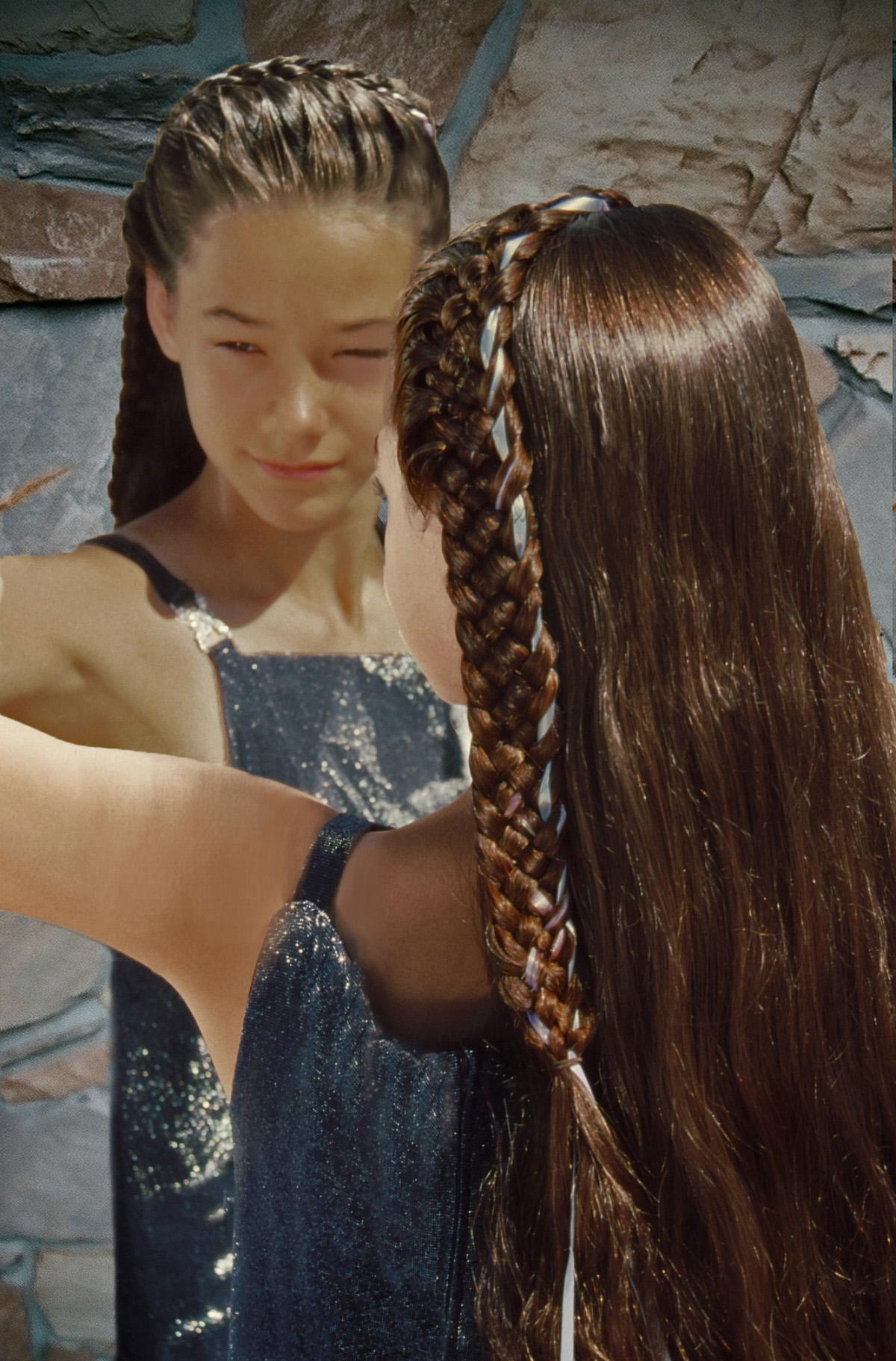 5-strand, french, lace, headband, cascade, ribbon