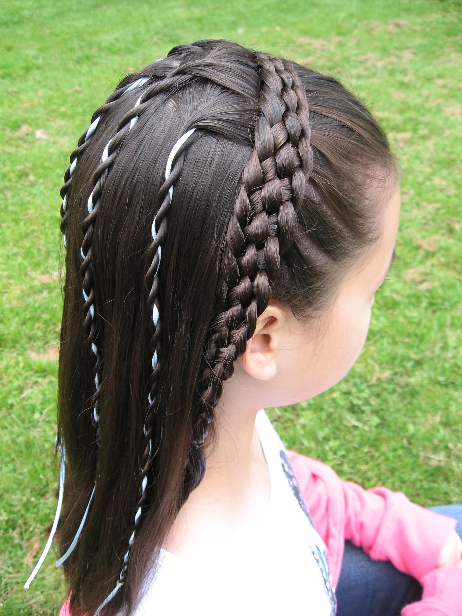 6-strand, taper, dutch, lace, headband, cascade, ribbon, mini rope